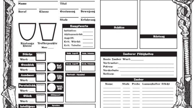 Dungeon Crawl Classics » Deutscher Charakterbogen für jede Klasse