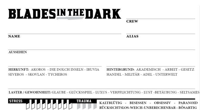 Blades in the Dark – Deutscher Charakterbogen