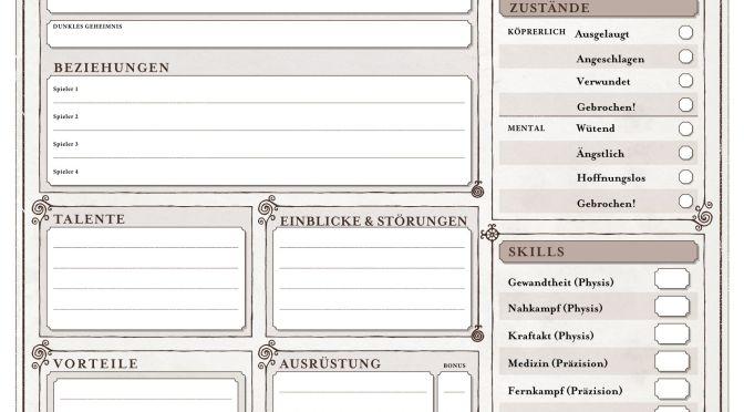 Deutscher Fan-Charakterbogen für Vaesen
